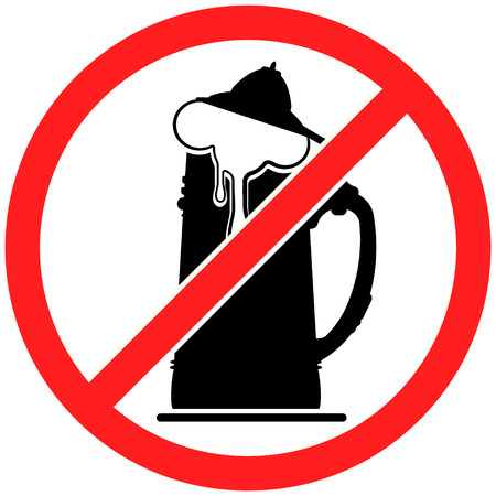 beerglass: Prohibition sign icon No beer vector illustration with beerglass Illustration