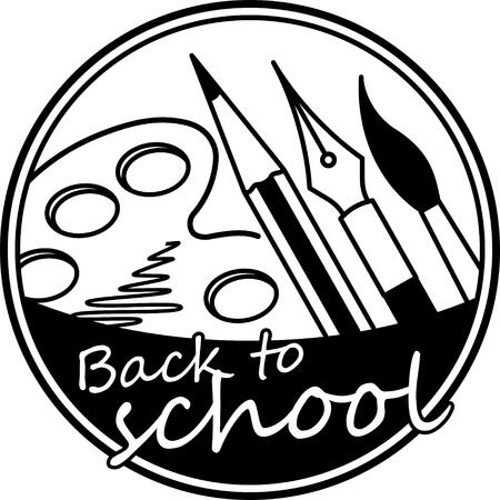 Terug naar school abstracte ronde vector zwart-wit ontwerp met penseel, potlood, pen en palet verf