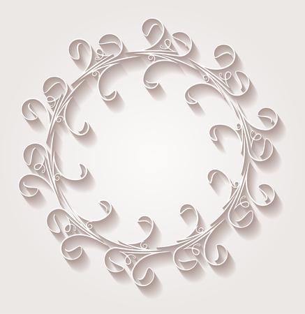 vintage floral frame: Unusual round vintage floral frame for your design with shadow. Vector illustration in light gentle tones.