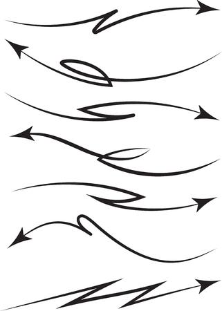 flechas curvas: Conjunto de 7 flechas en espiral y curvas negras. ilustración vectorial