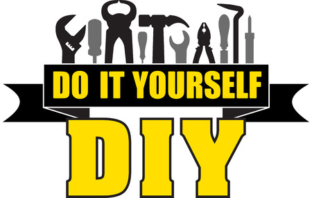 DIY do it yourself banner with silhouettes of workers tools: hammer, screwdriver, pliers, file, soldering iron, pliers, awl, etc.