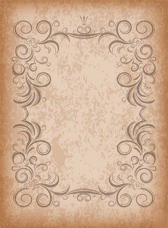 aged paper: Old frame on aged paper with dark edges and a blank space for text. Retro vintage greeting card or invitation.