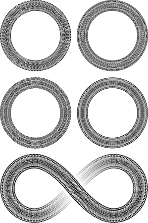 tread: Set of four round vector frames in tire traces style and tire style infinity sign
