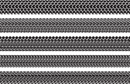 treads: Set of five vector traces of tires.
