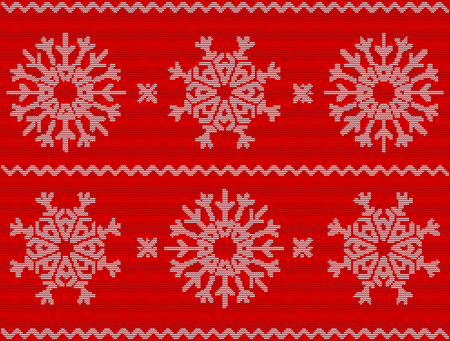 Christmas Pattern With Snowflakes New Year Ornament On Red