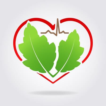 Abstract medical health icon with silhouette of stylized heart shape, pair of green leaves and line of cardiogram and shadow. Can used as symbol or emblem for herbal medicine or etc. Illustration