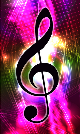 Abstract very bright colorful background in grunge style with lights. Treble clef, g clef for music design.