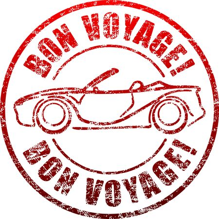 cabriolet: Bon voyage red grunge style rubber stamp with car, cabriolet.