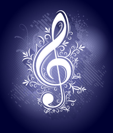 Abstract dark blue background in grunge style with lights, drops, shadows. Treble clef, g clef for music design
