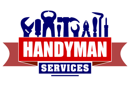 Handyman services design for your emblem with red and set of workers tools. There are wrench, screwdriver, hammer, pliers, soldering iron, scrap. 일러스트