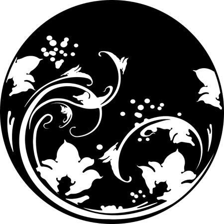 decorative pattern: Floral round frame in stencil style with decorative pattern. Can be  used as stencil-plate for your color paint or other design.