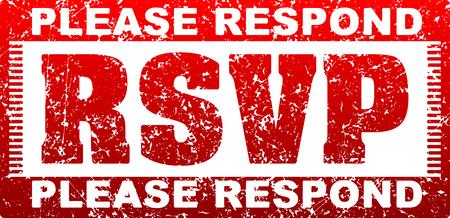 rsvp: RSVP Please respond grunge style square rubber stamp.