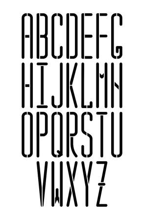 Stencil thin monospace sans serif font with rounded corners. Modern condensed font. Can be  used as stencil-plate for your color paint or other design.