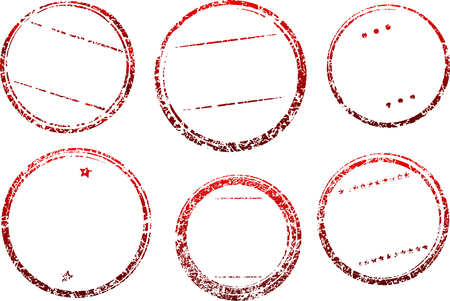 black circle: Set of six grunge vector templates for rubber stamps in dark red gamma.