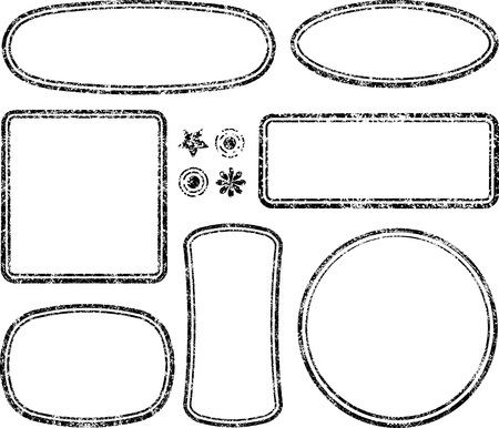 auxiliary: Big set of grunge templates for rubber stamps with auxiliary elements