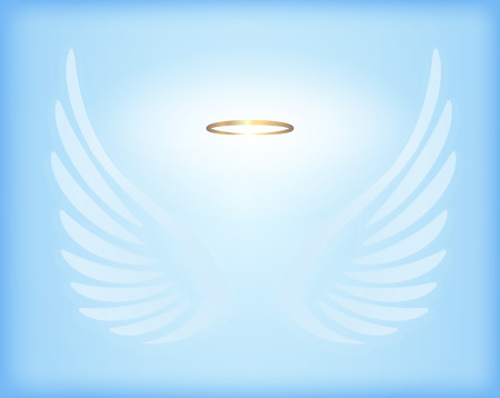 heaven: Transparent white angel wings with gold nimbus on sky blue background