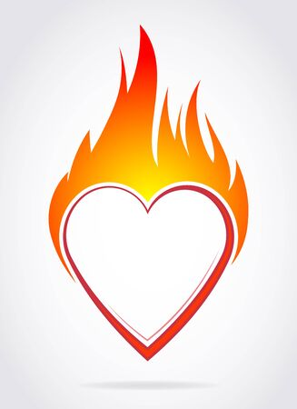 Vector blazing colorful heart with flame for your Valentines design or tattoo.