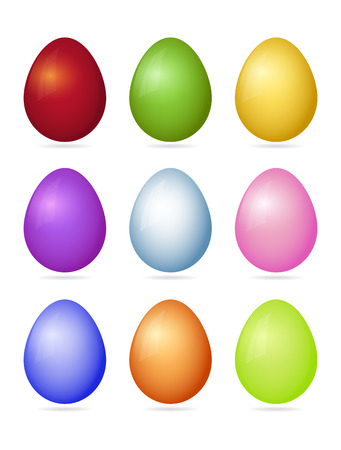 Set of nine photorealistic colorful vector Easter eggs with shadow isolated on a white background. Illustration