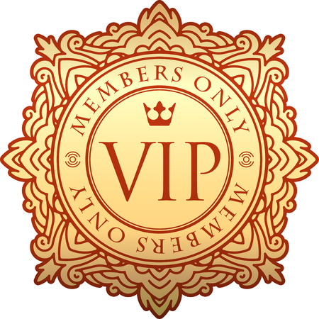 members only: Rich decorate gold VIP decor with unusual stylish ornate round frame, caption Members only and crown.
