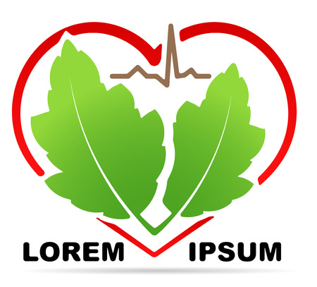Abstract medical health icon with silhouette of stylized heart shape, pair of green leaves and line of cardiogram and shadow. Can used as logo, symbol or emblem for herbal medicine or etc.