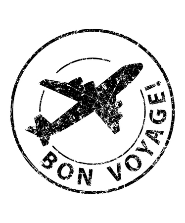 Bon voyage black rubber stamp with silhouette of airplane Illustration