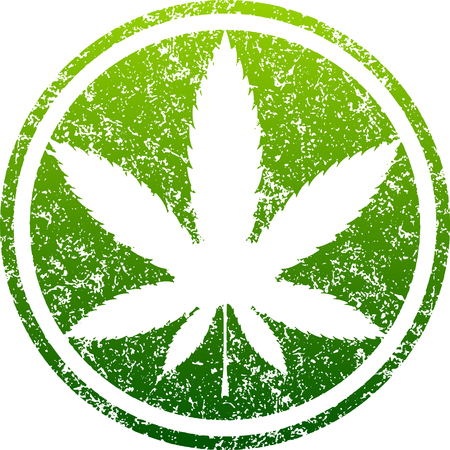 narcotic: Cannabis or marijuana green leaf grunge design inscribed in a circle