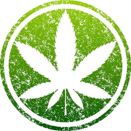 Grünes Blattschmutzdesign des Hanfs oder des Marihuanas beschriftete in einem Kreis