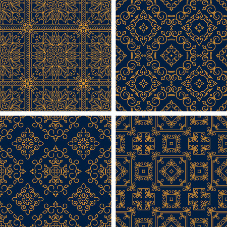 gamma: Set of four rich decorated calligraphic outlined stroke seamless patterns in dark and gold gamma.
