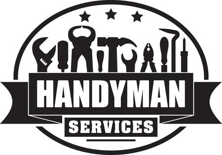 Handyman serviços selo sólido gubber para o seu logotipo ou emblema com bandeira e conjunto de ferramentas de trabalhadores.