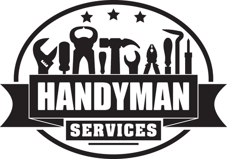 Handyman services solid gubber stamp for your logo or emblem with banner and set of workers tools. Imagens - 77454562