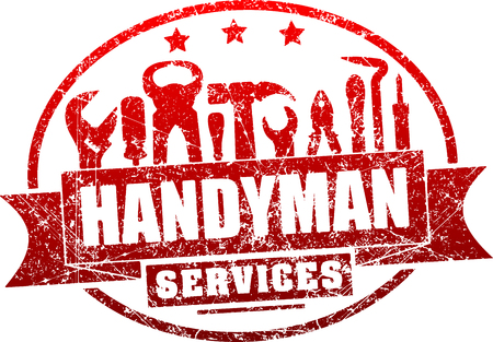 Handyman services red, grunge rubber stamp for your logo or emblem with banner and set of workers tools.