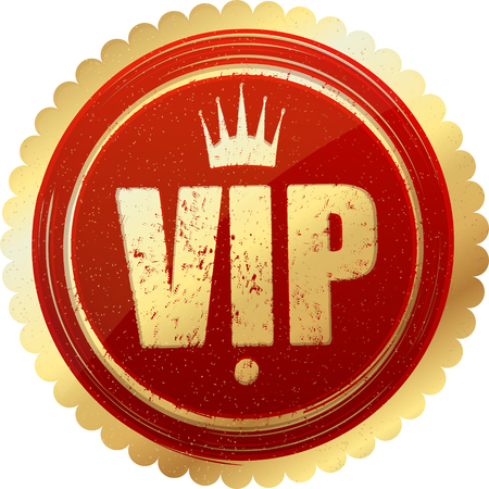 members only: VIP design with crown, gold and red icon or logo design in gunge rubber stamp style.