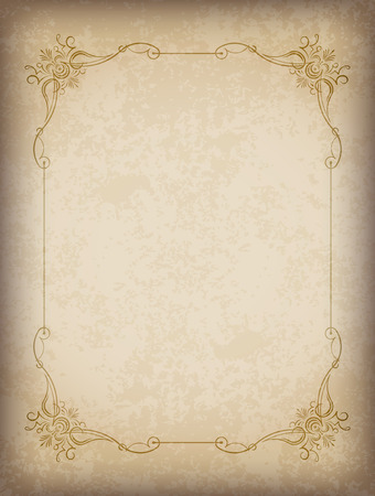 Old frame with the blacked out edges and a blank space for text. Retro vintage greeting card, invitation or template for notes.