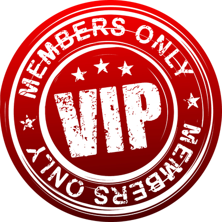 celebrities: VIP. Members only. Red grunge style rubber stamp.