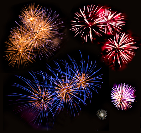 Bright lights of firework in dark night sky. Stock Photo