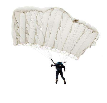 낙하산, 흰 배경에 고립 낙하산의 점프. 스톡 콘텐츠