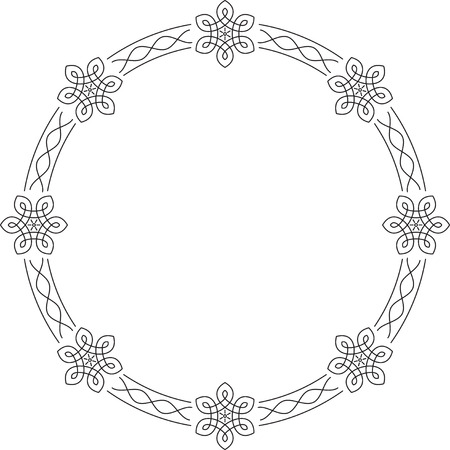 Elegant Outlined Calligraphic Round Frames For Your Design Royalty ...