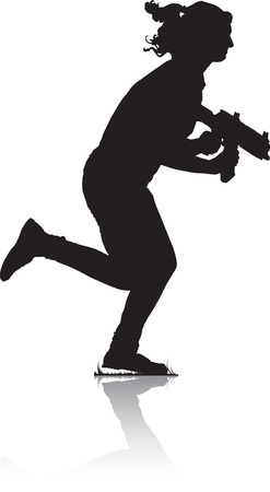 Silhouette of young running girl, armed with a rifle for play in laser tag.