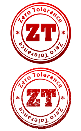 Pair of red rubber stamps in grunge and solid style with caption Zero Tolerance and abbreviation ZT Çizim