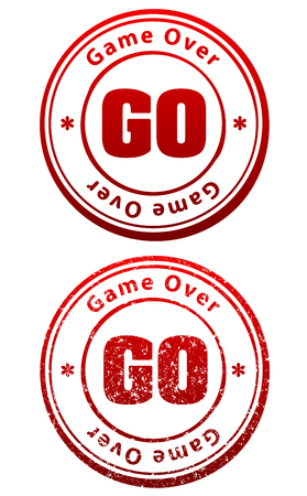Pair of red rubber stamps in grunge and solid style with caption Game Over and abbreviation GO Illustration