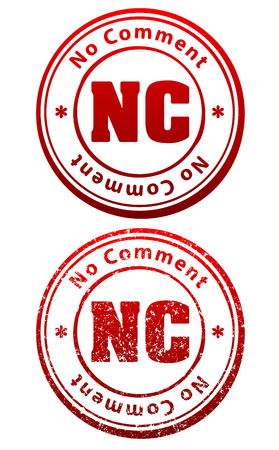 critique: Pair of red rubber stamps in grunge and solid style with caption No Comment and abbreviation NC Illustration