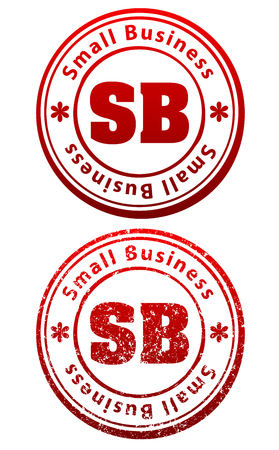 patronize: Pair of red rubber stamps in grunge and solid style with caption Small Business and abbreviation SB