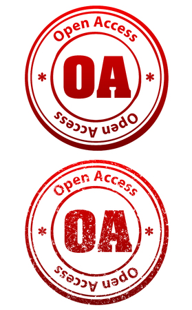 Pair of red rubber stamps in grunge and solid style with caption Open Access and abbreviation OA