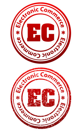 electronic commerce: Pair of red rubber stamps in grunge and solid style with caption Electronic Commerce and abbreviation EC