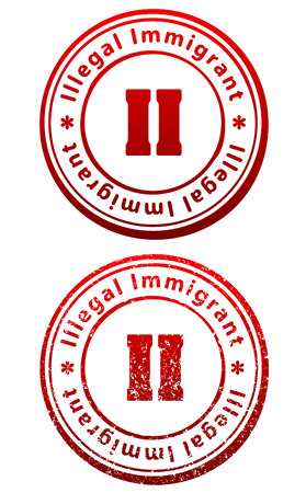Pair of red rubber stamps in grunge and solid style with caption Illegal Immigrant and abbreviation II