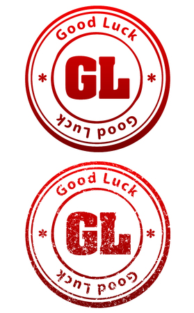Pair of red rubber stamps in grunge and solid style with caption Good Luck and abbreviation GL