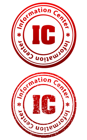 responsive: Pair of red rubber stamps in grunge and solid style with caption Information Center and abbreviation IC