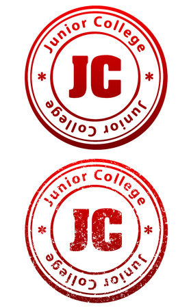 Pair of red rubber stamps in grunge and solid style with caption Junior College and abbreviation JC