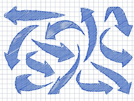 あなたのデザインのための矢印のセットは手にスタイルを描画します。学校の市松模様の背景に青のインク。