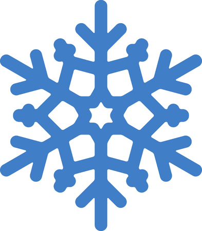 Blue vector snowflake. Simple stylish icon design with rounded corner.